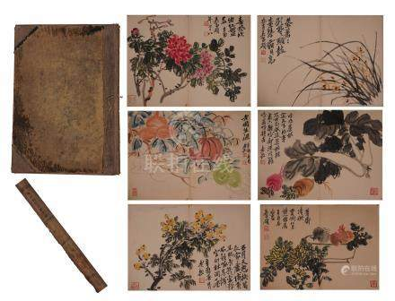 FORTEEN PAGES OF CHINESE ALBUM PAINTING OF FLOWER WITH CALLIGRAPHY