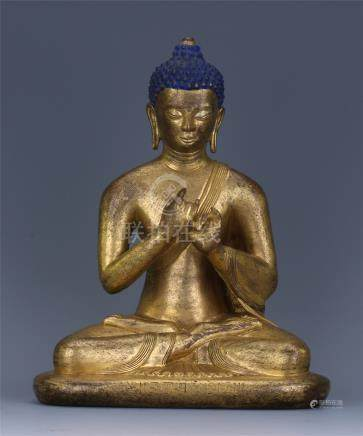 CHINESE GILT BRONZE SEATED SAYKAMUNI