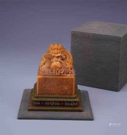 CHINESE TIANHUANG STONE DRAGON SEAL