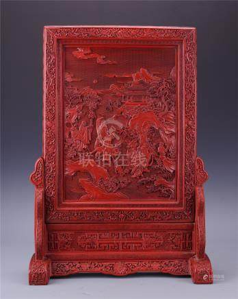CHINESE CINNABAR MAN IN MOUNTAIN PLAQUE TABLE SCREEN
