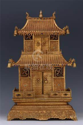 CHINESE GILT BRONZE PAVILION BUDDHIST TWO LAYER NICHE