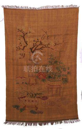 CHINESE EMBROIDERY KESI FLOWER IN VASE TAPESTRY