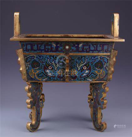 CHINESE CLOISONNE FOUR FEET SQUARE CENSER
