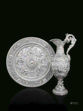 A LARGE ITALIAN SILVER EWER AND BASIN