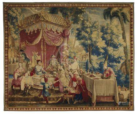 A LOUIS XIV BEAUVAIS 'CHINOISERIE' TAPESTRY DEPICTING 'LA COLLATION'