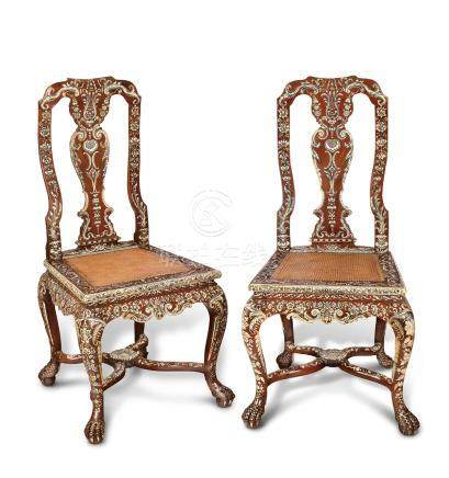 A PAIR OF ANGLO-INDIAN IVORY-INLAID PADOUK SIDE CHAIRS