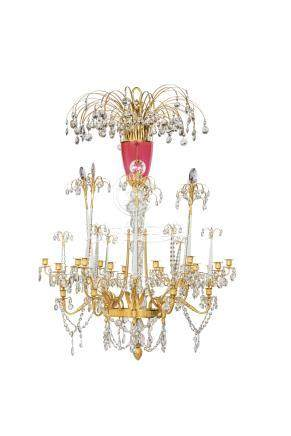 AN IMPERIAL RUSSIAN ORMOLU, CRYSTAL, RUBY AND CLEAR GLASS EIGHTEEN-LIGHT CHANDELIER