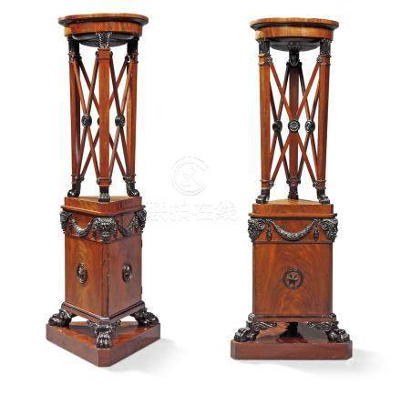 A PAIR OF REGENCY MAHOGANY AND EBONISED ATHENIENNE TORCHERES
