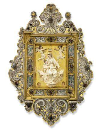 AN ANTIQUARIAN FRAMED IVORY RELIEF OF THE CORONATION OF THE VIRGIN