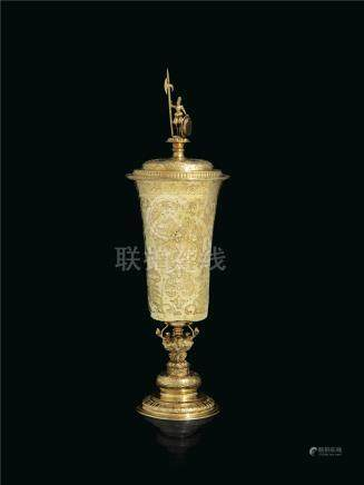 A GERMAN LARGE SILVER-GILT CUP AND COVER