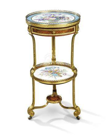 A LOUIS XVI ORMOLU-MOUNTED SEVRES PORCELAIN, MAHOGANY AND SYCAMORE MARQUETRY GUERIDON