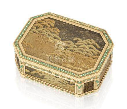 A LOUIS XVI ENAMELLED GOLD-MOUNTED AND LACQUER SNUFF-BOX