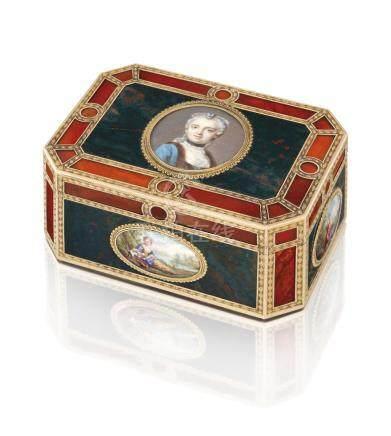 A LOUIS XV GOLD-MOUNTED HARDSTONE SNUFF-BOX