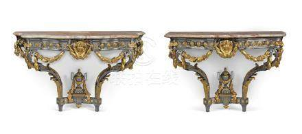 A PAIR OF LATE LOUIS XV STEEL AND ORMOLU CONSOLES