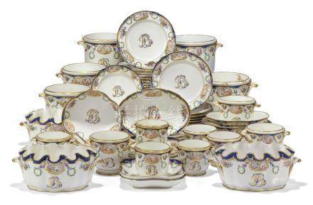A SÈVRES LATER-DECORATED PART DESSERT-SERVICE OF A TYPE ASSOCIATED WITH MADAME DU BARRY