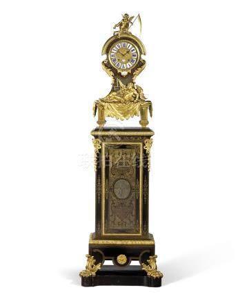 A LOUIS XIV ORMOLU-MOUNTED EBONY, BRASS AND TORTOISESHELL BOULLE MARQUETRY PEDESTAL CLOCK 'L'AM