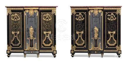 A PAIR OF LOUIS XVI ORMOLU-MOUNTED EBONY, PEWTER, BRASS AND TORTOISESHELL BOULLE MARQUETRY CABI