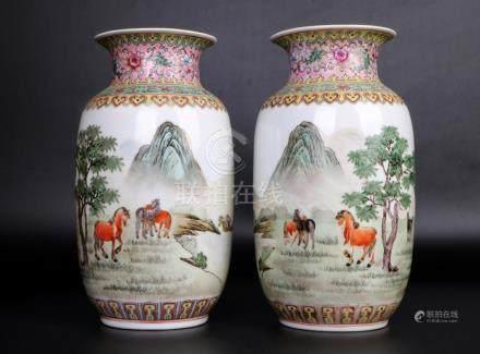 China, Two Famille Rose Lantern Vase