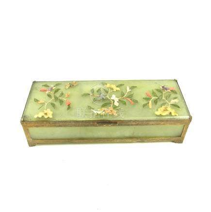 A Chinese brass mounted translucent carved stone jewellery box, probably early 20th century.