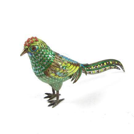 A Chinese gilt silver and enamelled cloisonné exotic bird, 20th century.