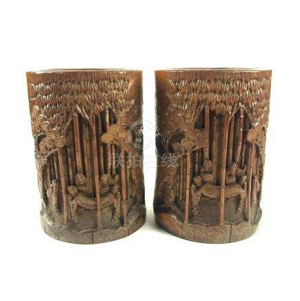 Two large Chinese carved bamboo brush pots, late 19th/early 20th century.