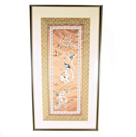 A Chinese silk embroidered panel, 20th century.