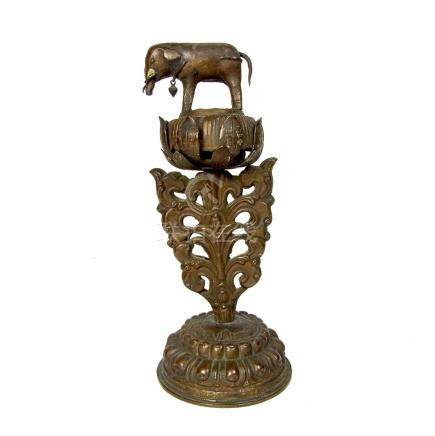 A Tibetan Buddhist copper alter ornament, Tibet, 19th century.