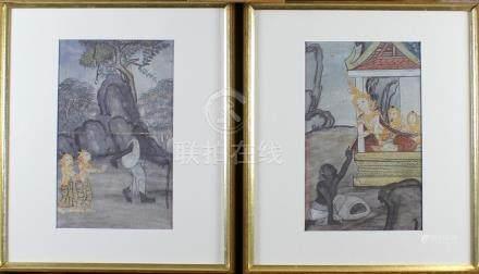 A pair of illustrations from the Narada Jakata, Thailand, Rattanakosin period.