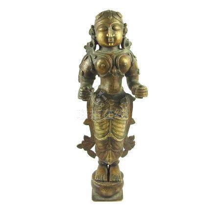 A large Indian bronze figure of Lakshmi, India, probably 19th century.