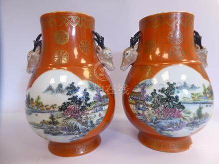 A pair of late 19thC Chinese porcelain vases of bulbous form,
