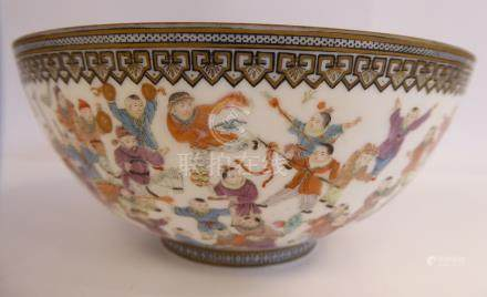 A mid 20thC Chinese porcelain bowl, decorated with multiple figures bears a seal mark 2.75''h 6.