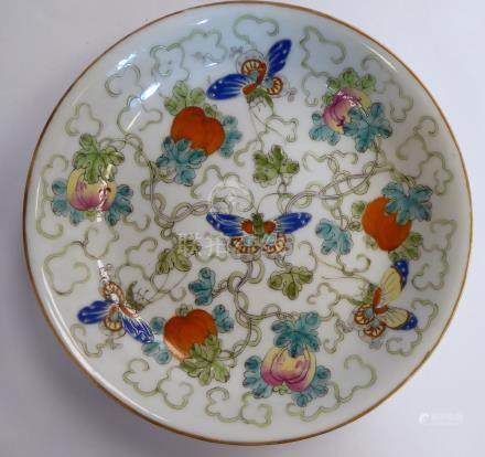 A late 19thC Chinese porcelain dish, decorated with fruit,