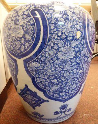 An early 19thC Chinese porcelain vase of baluster form (reduced neck),