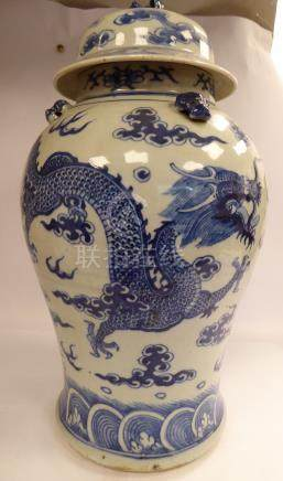 A late 19thC Chinese porcelain vase of waisted baluster form,