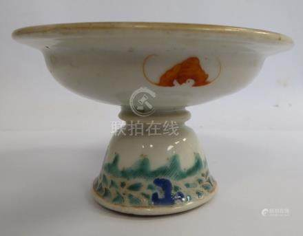 A mid 18thC Chinese porcelain stem cup,