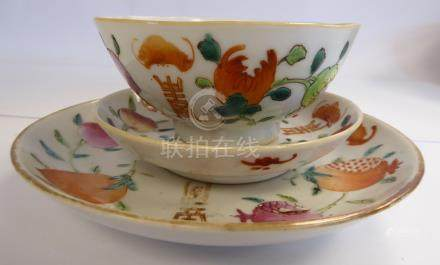 A late 19thC Chinese porcelain bowl, saucer and plate,