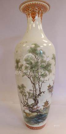 A mid 20thC Chinese porcelain vase of baluster form,
