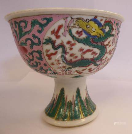A late 19thC Chinese porcelain stem cup, decorated with panels of dragons, surrounded by foliage,
