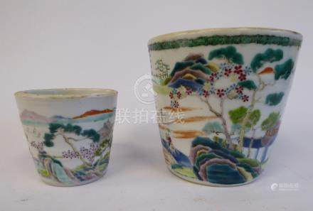 A late 19thC Chinese porcelain pot of tapered form, decorated with figures and building,