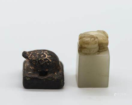 CHINESE JADE AND BRONZE SEAL, SET OF 2