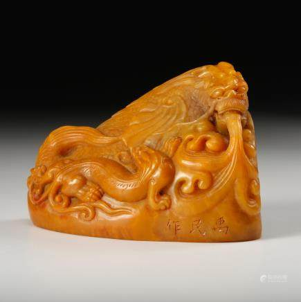 CHINESE TIANHUANG SOAPSTONE DRAGON SEAL
