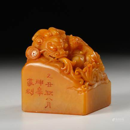 CHINESE TIANHUANG SOAPSTONE BEAST SEAL