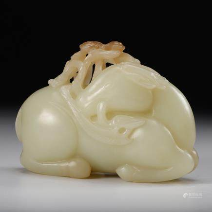 CHINESE WHITE JADE CARVED DEER AND LINGZHI