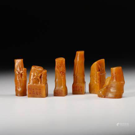 CHINESE TIANHUANG SOAPSTONE SEALS, SET OF 6