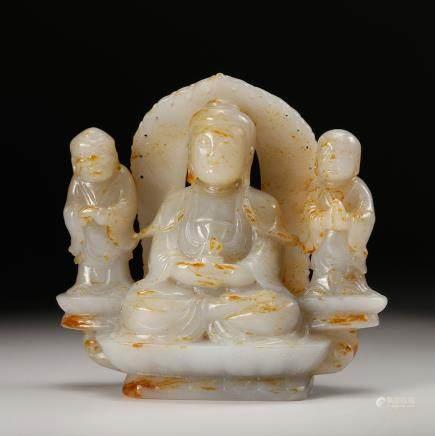CHINESE WHITE JADE CARVED BUDDHA
