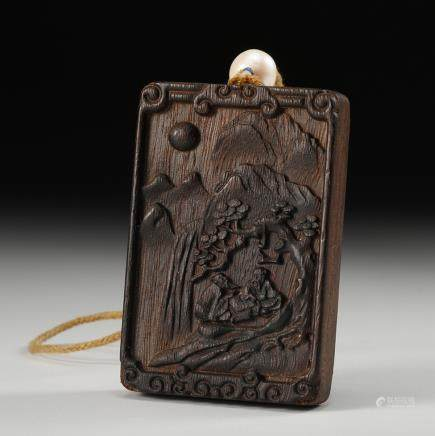 CHINESE CHENXIANG WOOD PLAQUE PENDANT