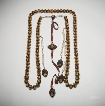 CHINESE CHENXIANG WOOD COURT BEADS NECKLACE