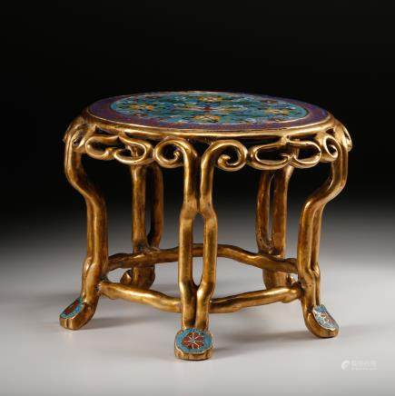 CHINESE CLOISONNE GILT BRONZE STOOL