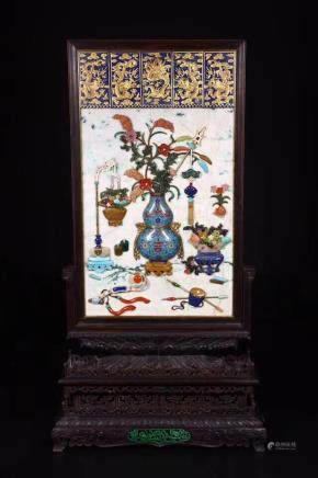 CHINESE JADEITE PLAQUE TABLE SCREEN INLAID STONES