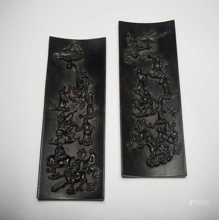 CHINESE ZITAN WOOD PANEL CARVED IMMORTALS